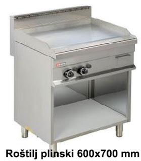 Glatka ploca Dimenzije: 800x700x900 mm Materijal ploce: hrom Snaga: 2x6000 W Materijal izrade: Inox Sigurnosni termostat Ako se plamen ugasi, gasi se dotok plina Prirodni plin ili plin iz boce