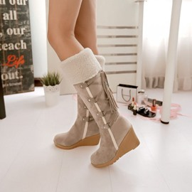 Back Wedge Heel Snow Boots
