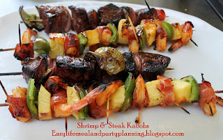 Brown Sugar Bacon-Wrapped Pineapple & Shrimp Kabobs by Easy Life Meal and Party Planning