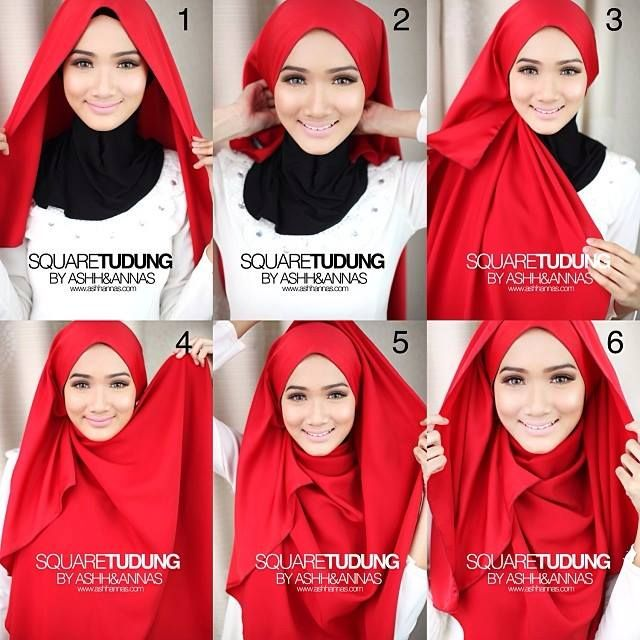 25+ Tutorial Hijab Segi Empat Terbaru 2017: Simple & Modis