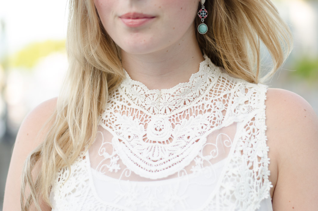 sheer blouse with crochet detailing