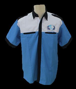 detail baju seragam kerja warna biru