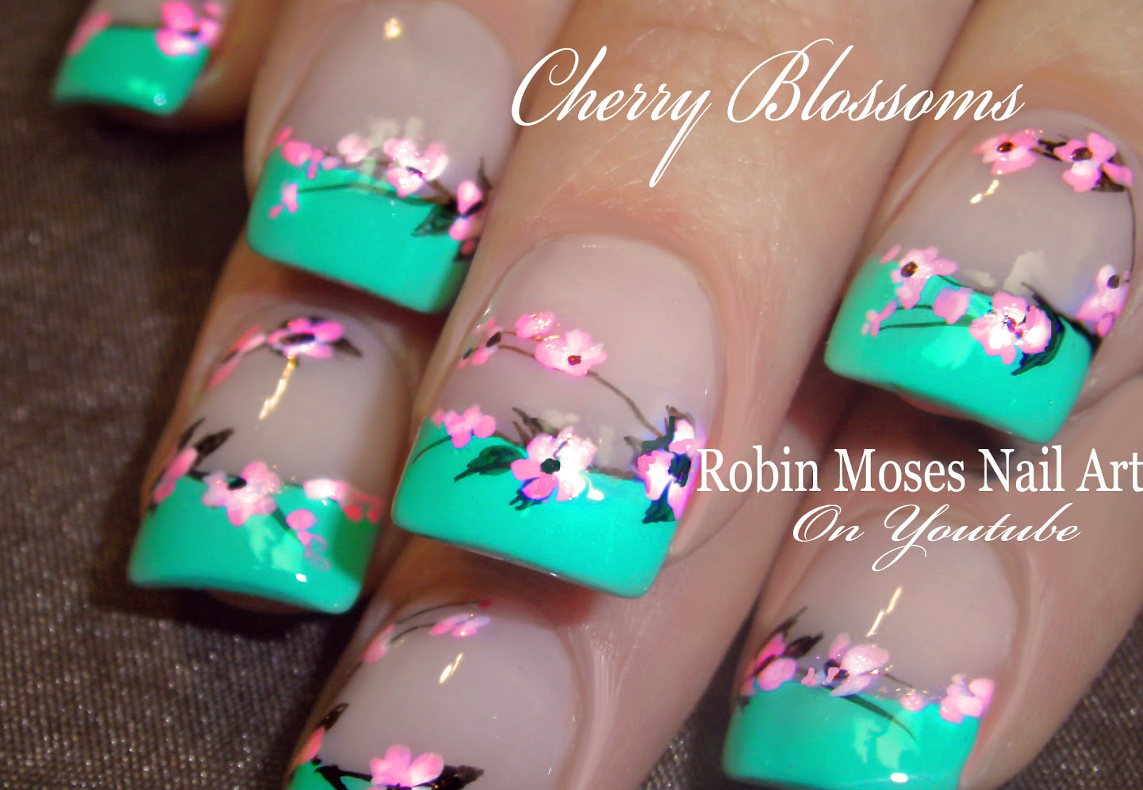 Nail Art By Robin Moses No Water Needed Mint Mani Diva Diy Drag