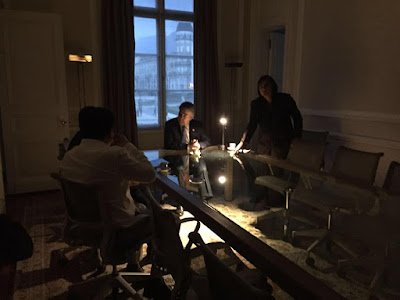 Colombian President Juan Manuel Santos sits in the dark at the Presidential Palace in Bogotá.