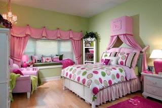 cuarto juvenil rosa verde
