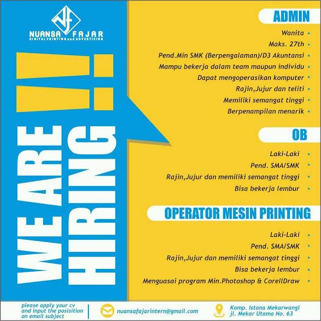 Lowongan Kerja Digital Printing Bandung