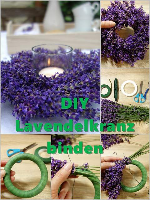 Lavendel Kranz, Bluetenkranz binden, Lavendel Ideen, Lavendel Dekoration selber machen, Lavendel Deko Tisch, Windlicht,Windlicht basteln,  Lavendel deko, Lavendel deko ideen, lavendel dekoration, lavendel deko basteln, lavendel deko diy