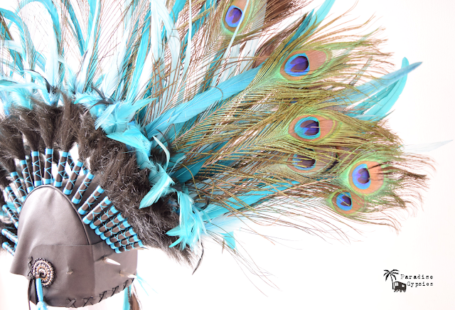 Peacock Feather Rocker Mohawk Love Festival Rave Headdress Headpiece Paradise Gypsies