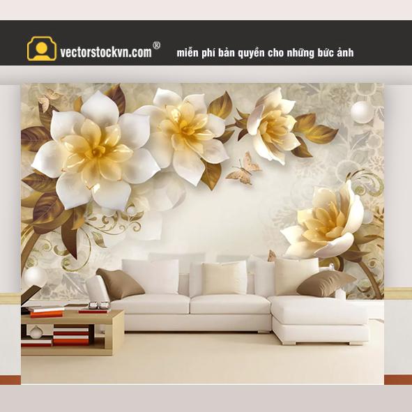 Tranh hoa dán tường 3d_41537