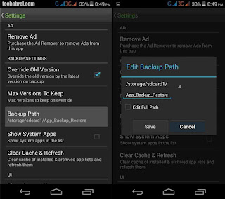 setting the backup path in android