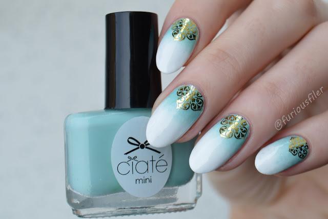 miętowe paznokcie metaliczne gradient ombre naklejki na paznokcie