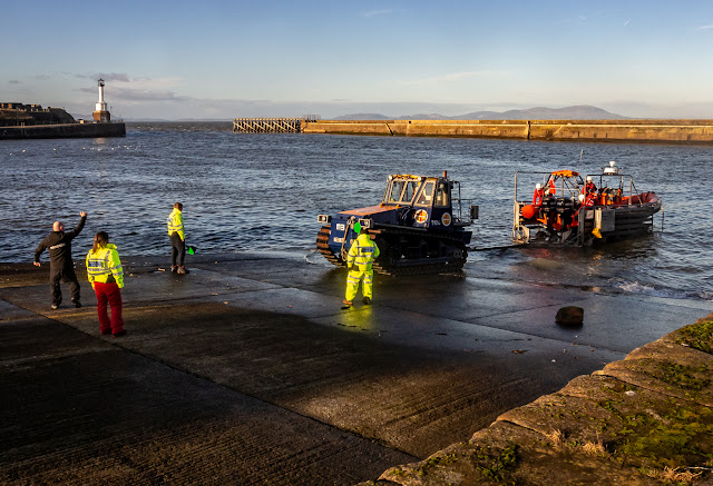 Photo of Maryport Inshore Rescue crew launching their rescue boat