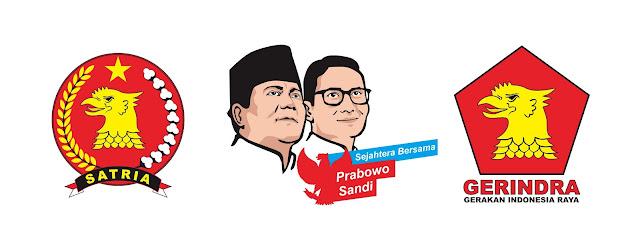 Download Vector Wajah Prabowo Subianto dan Sandiaga S Uno, Logo Gerindra, dan Logo Satria