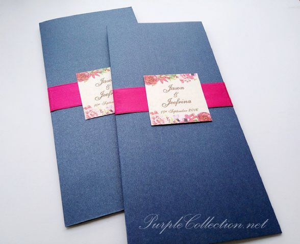 Royal blue wedding invitation card with magenta ribbon stopboris Choice Image