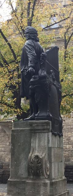 Johann Sebastian Bach statue outside Thomaskirche in Leipzig, Germany