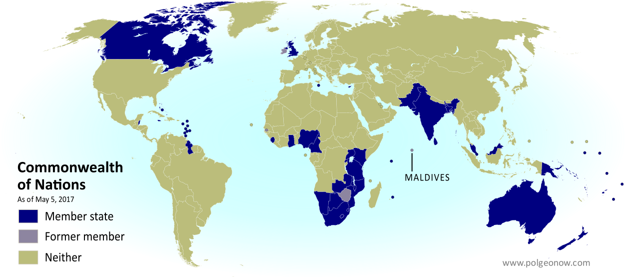 Map of current and former member countries of the Commonwealth of Nations (British Commonwealth) as of May 2017, showing where the Maldives are on the world map after the country left the organization (colorblind accessible).
