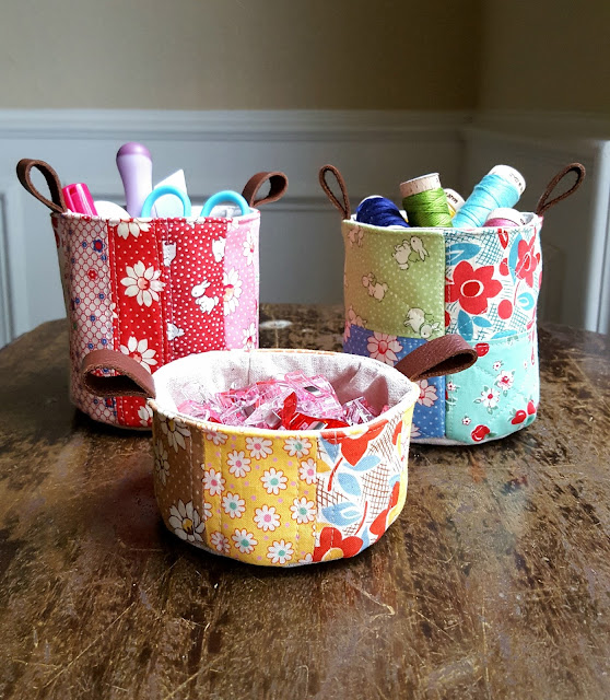 Lecien scrappy mini patchwork buckets by Heidi Staples of Fabric Mutt