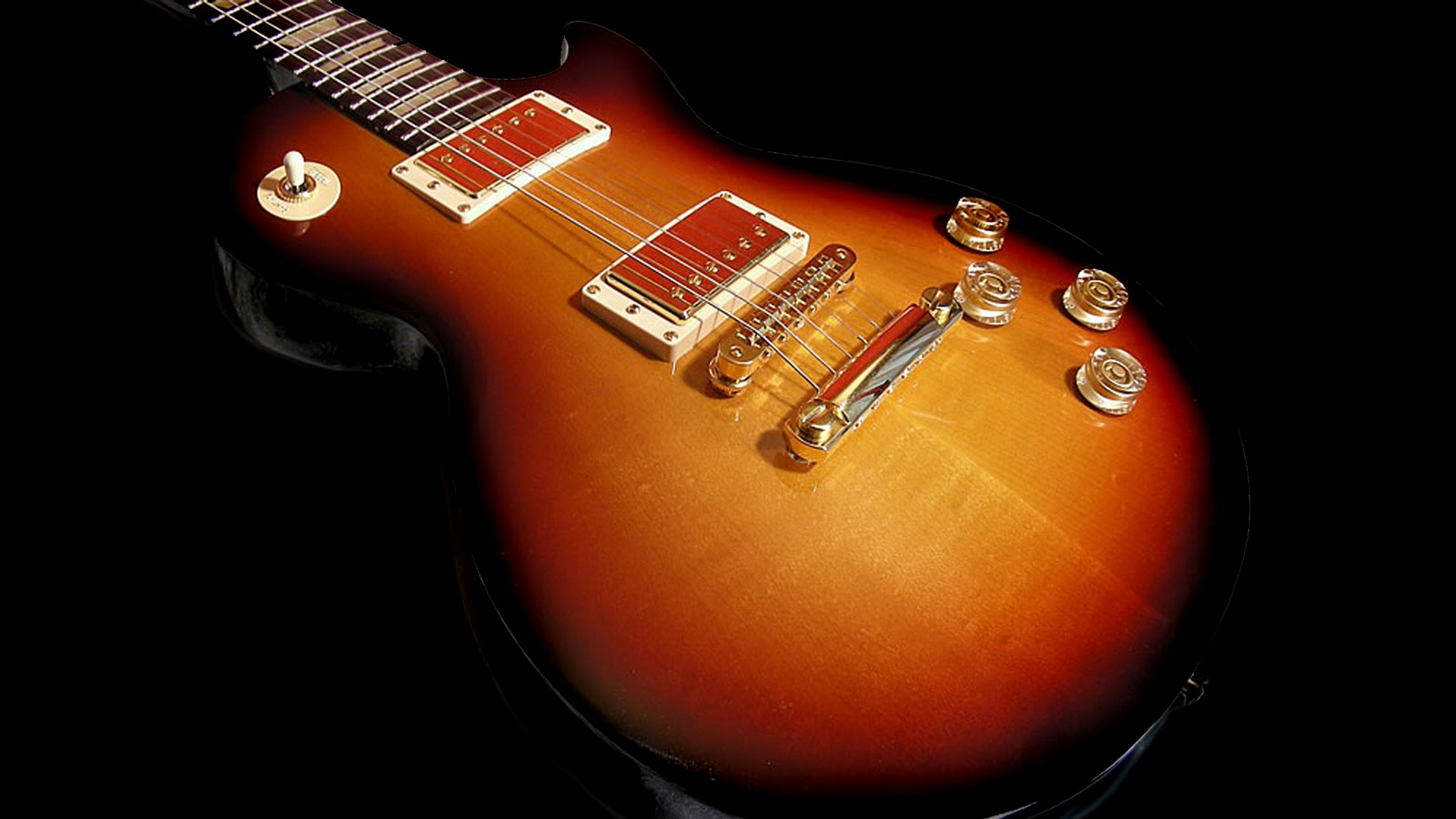 Fireburst Vintage Gibson Les Paul Gold Hardware Electric Guitar HD Desktop Wallpaper 1920x1080