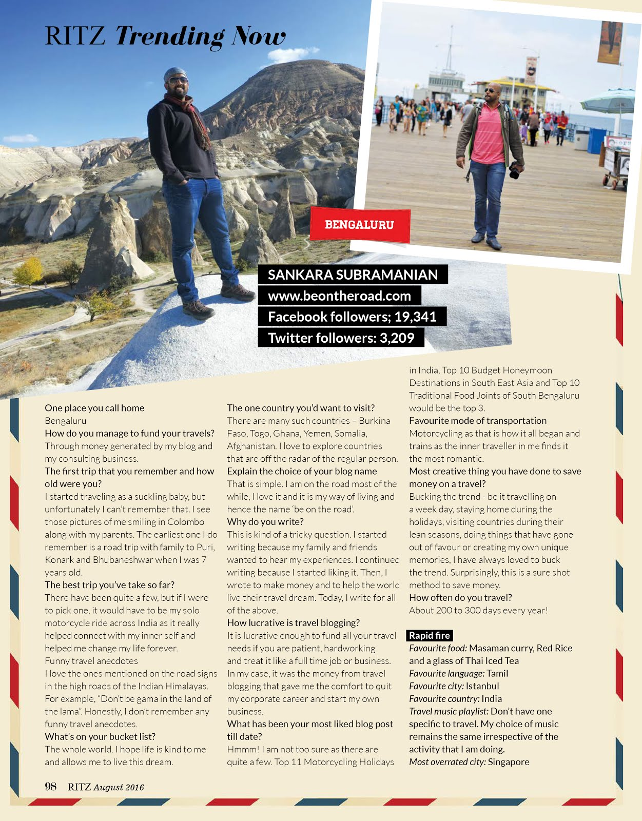 Ritz Magazine Features Sankara Subramanian C as South Indias Most Visible Travel Bloggers