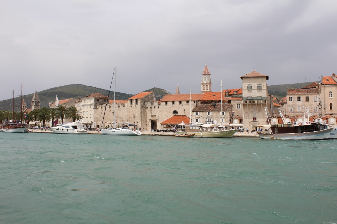 Yachts at Trogir Old Town in Croatia