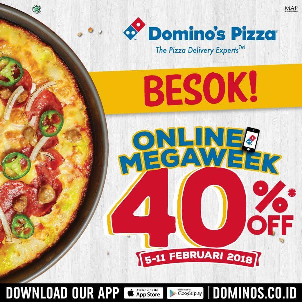 Promo Dominos Pizza Terbaru Online Megaweek Diskon 40 Periode 05 11 Februari 2018 Info Promo Diskon Dan Voucher Terbaru