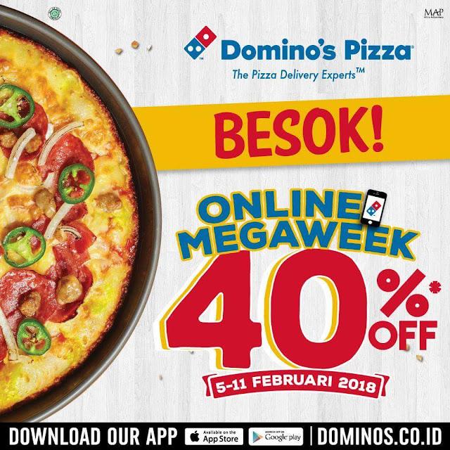 Promo DOMINOS PIZZA Terbaru Online MegaWeek Diskon 40% Periode 05 - 11 Februari 2018