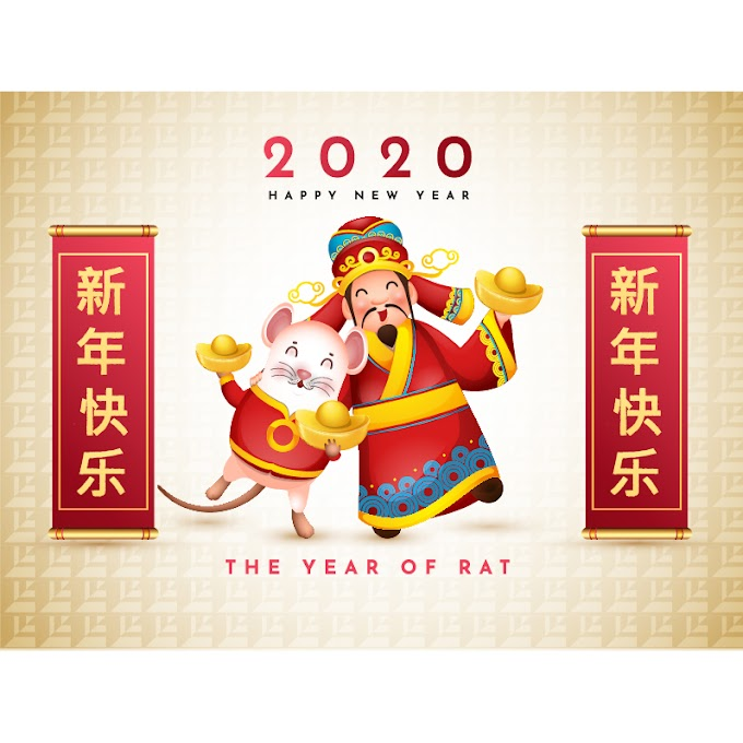 Happy Chinese New Year,  Chinese style 2020 congratulation new year background free vector