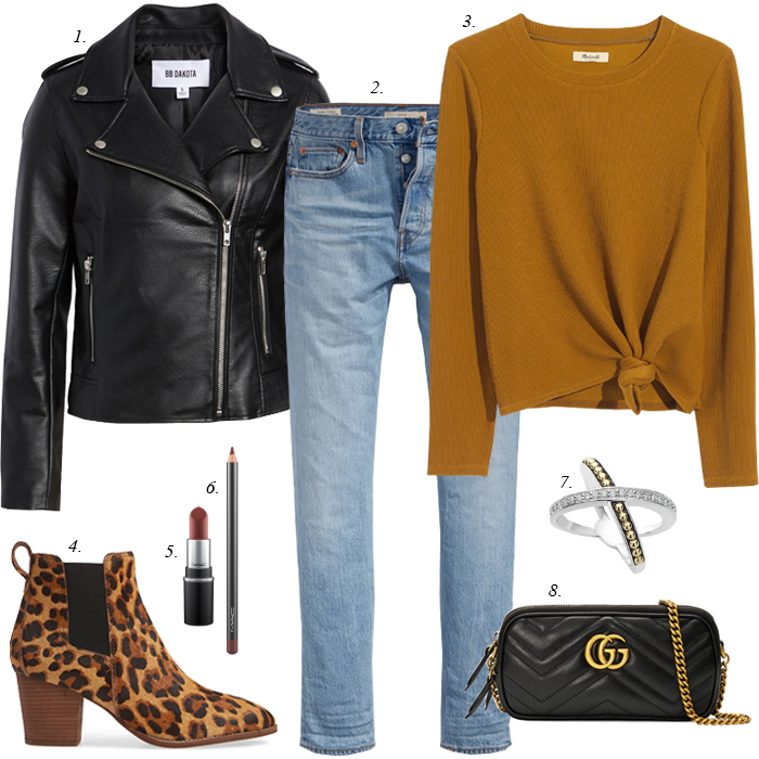 leopard boots, leather jacket, levis jeans, lagos ring
