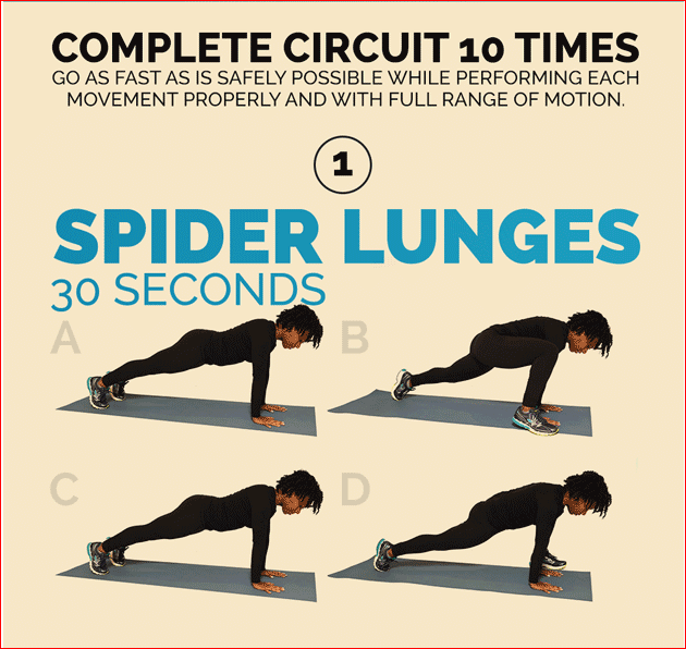Spider Lunges 30 Seconds
