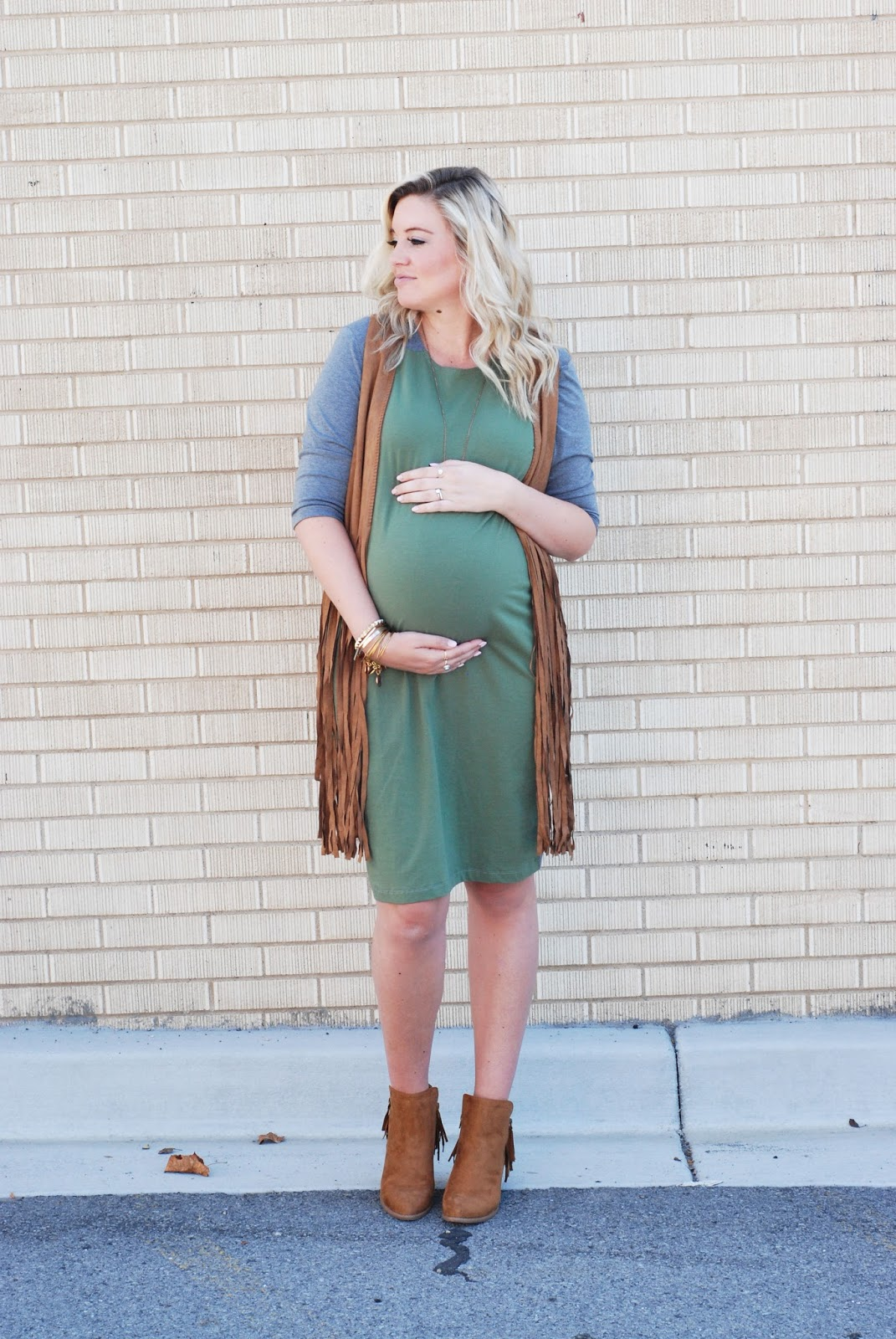 Two Tone Dress, Fringe Vest, Fringe Booties, Utah Fashion Blogger, Modest