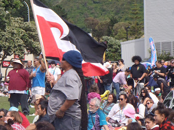 Waving the Maori flag on Waitangi Day