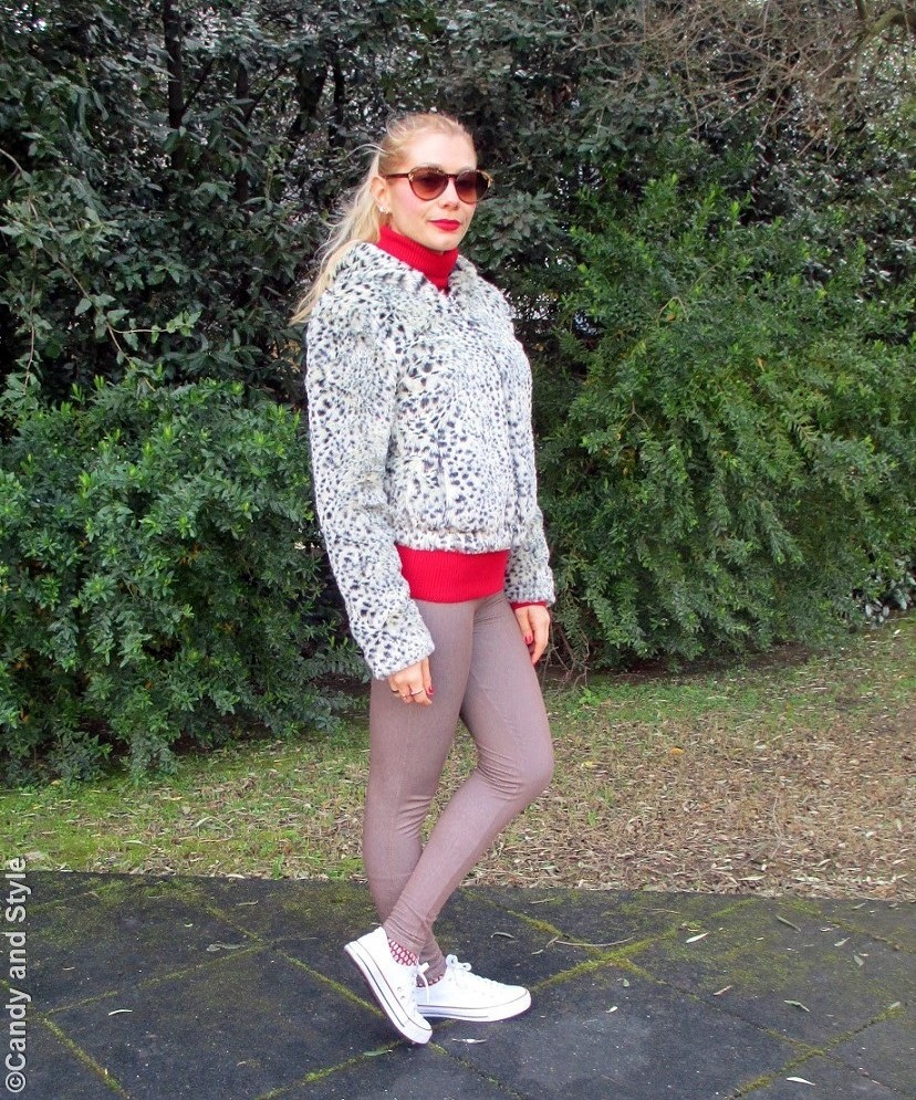 FauxFurJacket+RedTurtleneck+BeigeJeggings+WhiteSneakers+RedLips+HighPonytail - Lilli Candy and Style Fashion Blog
