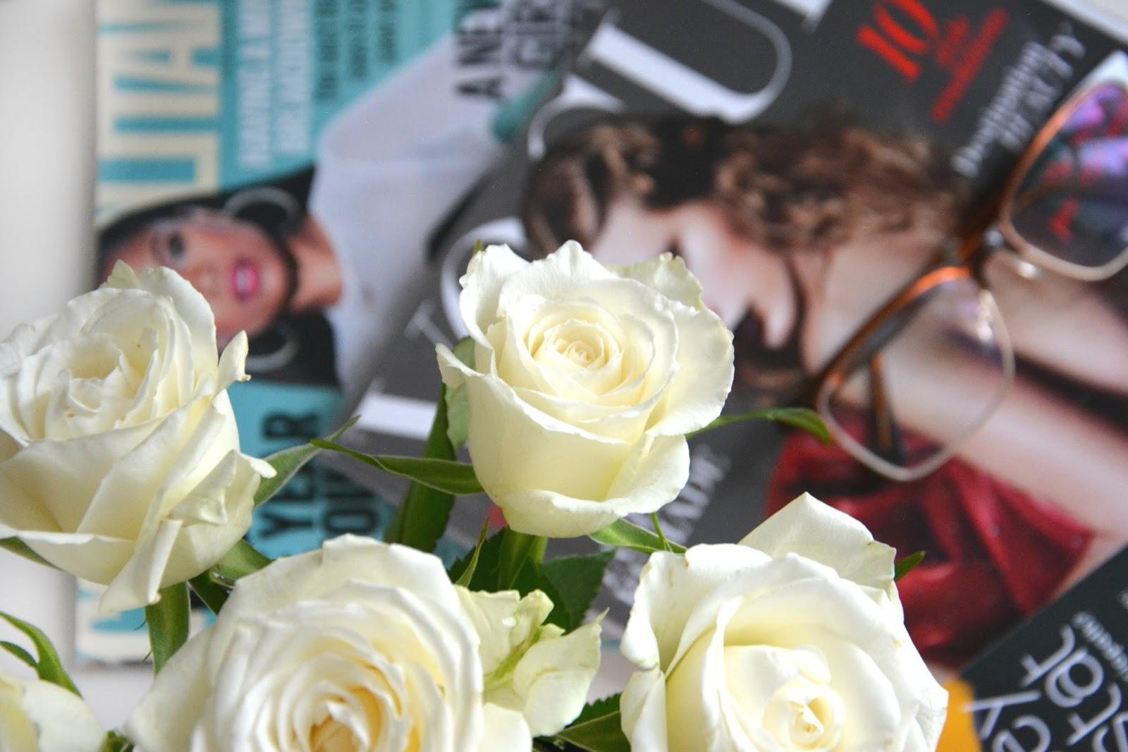 Blogosphere; Vogue; Cosmopolitan; Glasseshop.com Glasses; Huda Beauty Contour & Strobe Set Muse & Angelic; Maisons Du Monde Pineapple Dish; Primark Rings; Fresh Roses