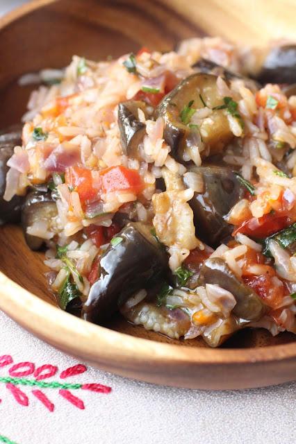 recette grecque aux aubergines et riz