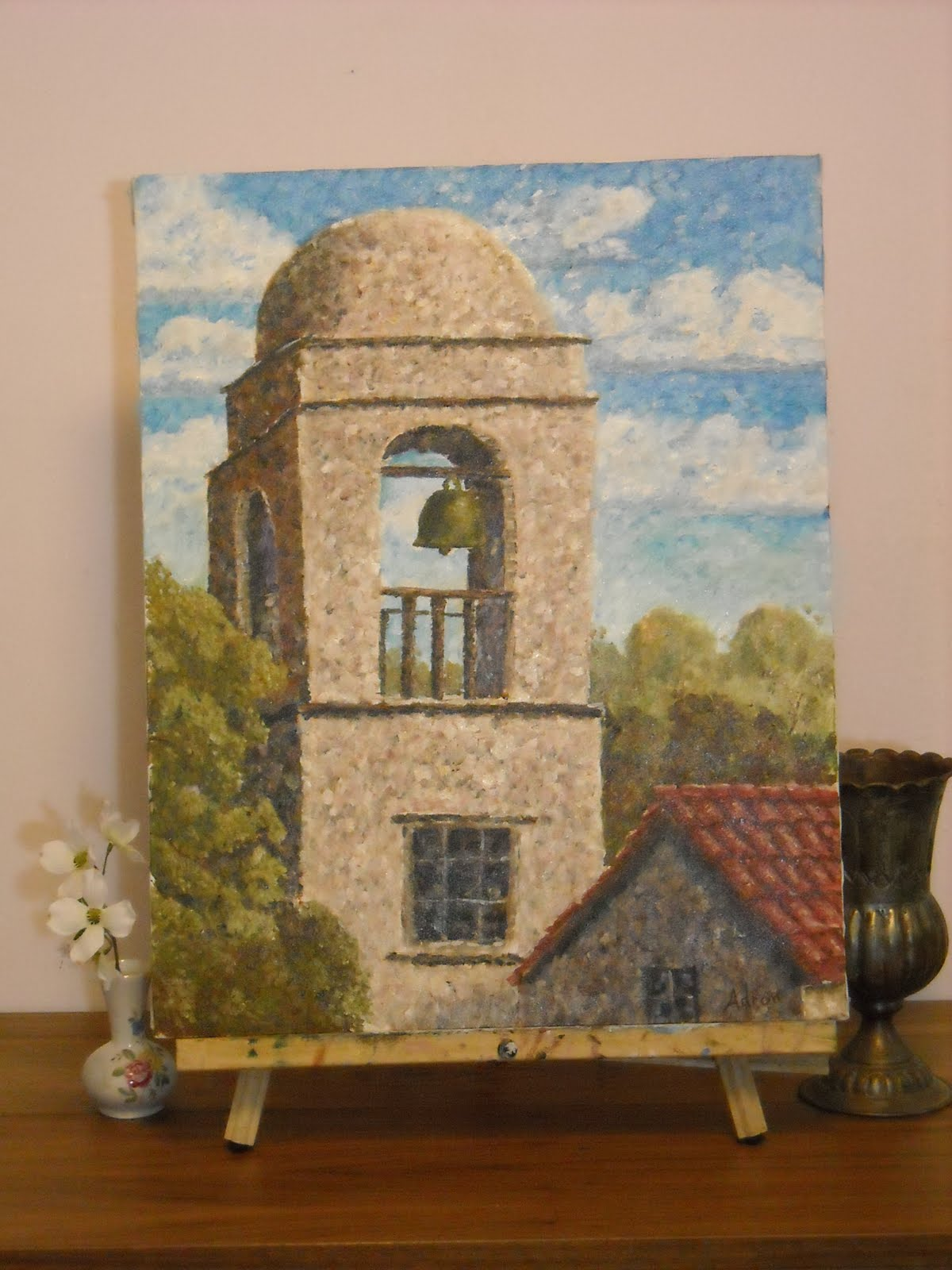Artist Adron Mission Bell Tower Original Painting For Sale By Artist