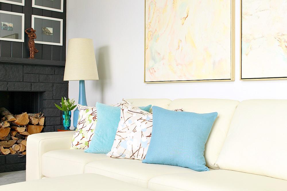 Marimekko Luminara Pillows with Blue and Aqua