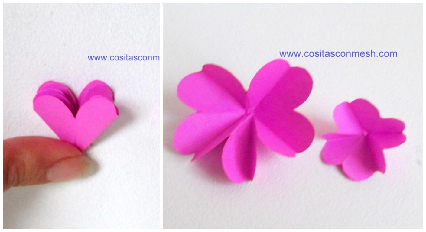 termina doblndolo hasta que tengas un solo corazn luego brelo y ya tienes una linda flor de papel
