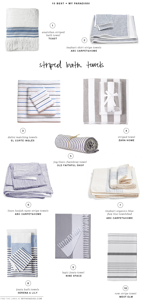 10 BEST: Striped bath towels | My Paradissi
