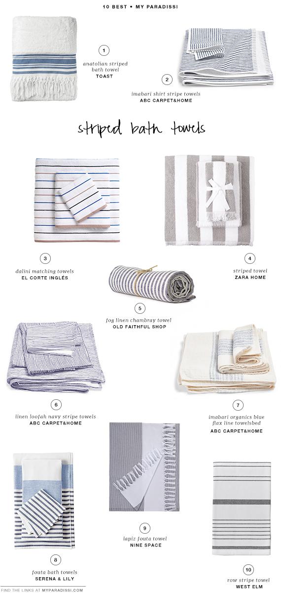 10 BEST: Striped bath towels | My Paradissi