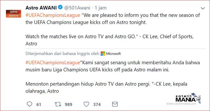 Inilah Daftar Channel Televisi Yang Menyiarkan Liga Champions Eropa 2018/2019