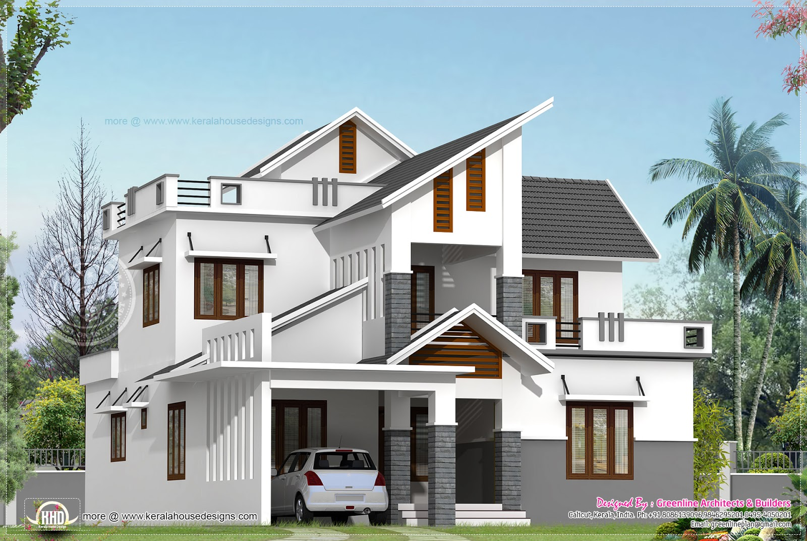 Modern house elevation in 2240 house design plans for Modern kerala style house plans with photos