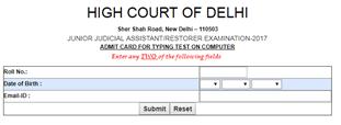 Delhi High Court JJA Admit Card 2018-19 Junior Judicial Asst Typing Test