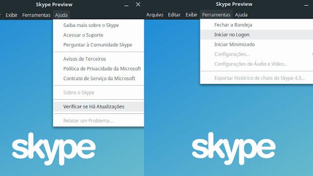 Skype Linux novas opções de configuração