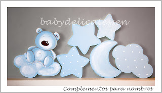 complementos para siluetas infantiles nubes estrellas babydelicatessen