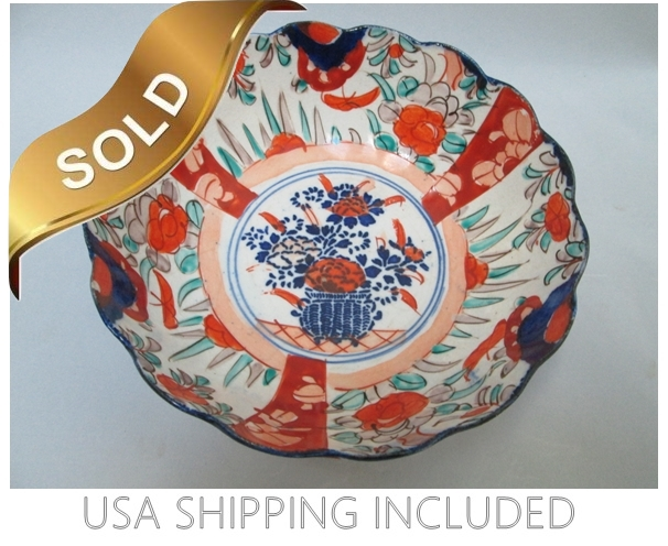 Japanese Imari Antique Fluted, Scalloped Bowl Meiji Period 1868-1912
