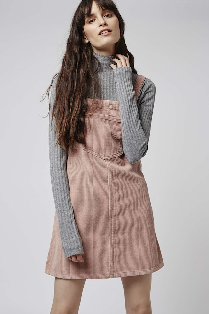 pink corduroy dress, dusky pink pinafore,
