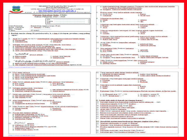 Soal UKK/UAS Kelas 4 SD Semester 2