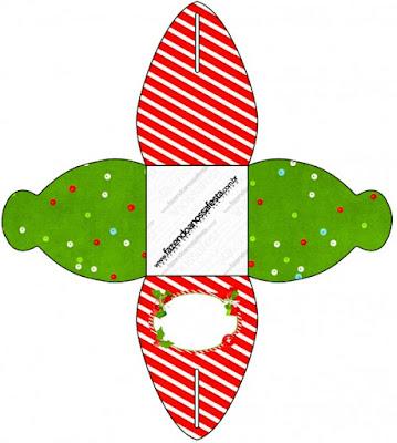 Caja para cupcakes, chocolates o golosinas de Navidad a Rayas.