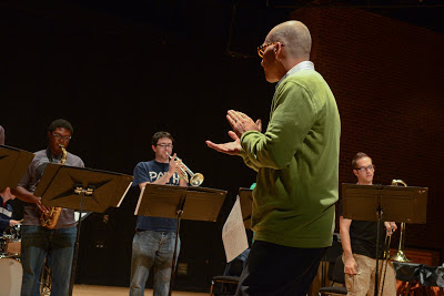 Earl MacDonald and the UConn Jazz Ensemble sight-reading in rehearsal.