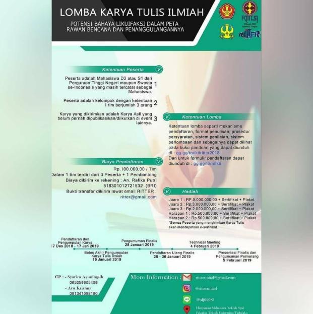 Lomba Karya Tulis Ilmiah Nasional RITTER di Universitas Tadulako Palu